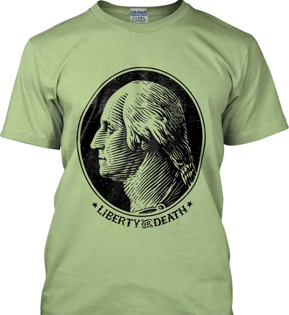 George Washington Liberty or Death. Black Print Gildan Ultra Cotton T-Shirt.-9