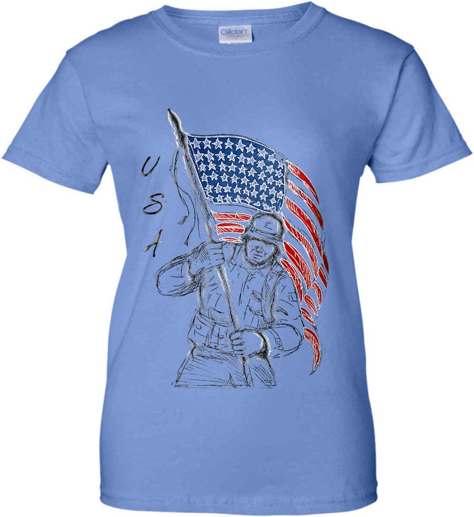 Soldier Flag Design. Black Print. Women's: Gildan Ladies' 100% Cotton T-Shirt.-3