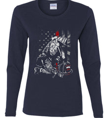 Thin Red Line. Kneeling Firefighter Ax. Women's: Gildan Ladies Cotton Long Sleeve Shirt.