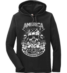 America. 2nd Amendment Patriots. White Print. Anvil Long Sleeve T-Shirt Hoodie.