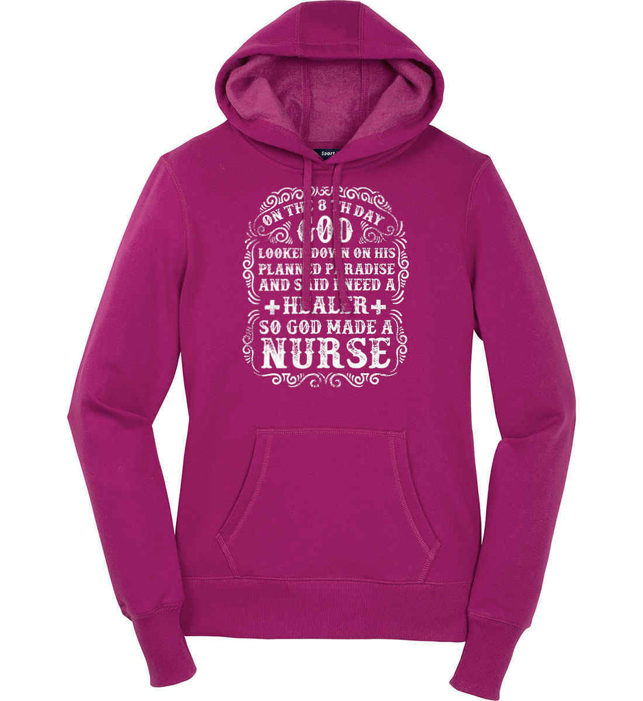 On The 8th Day God Made a Nurse. Women's: Sport-Tek Ladies Pullover Hooded Sweatshirt.-1