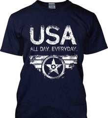 USA All Day Everyday. White Print. Gildan Tall Ultra Cotton T-Shirt.