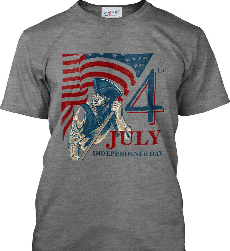 Patriot Flag. July 4th. Independence Day. Port & Co. Made in the USA T-Shirt.-1