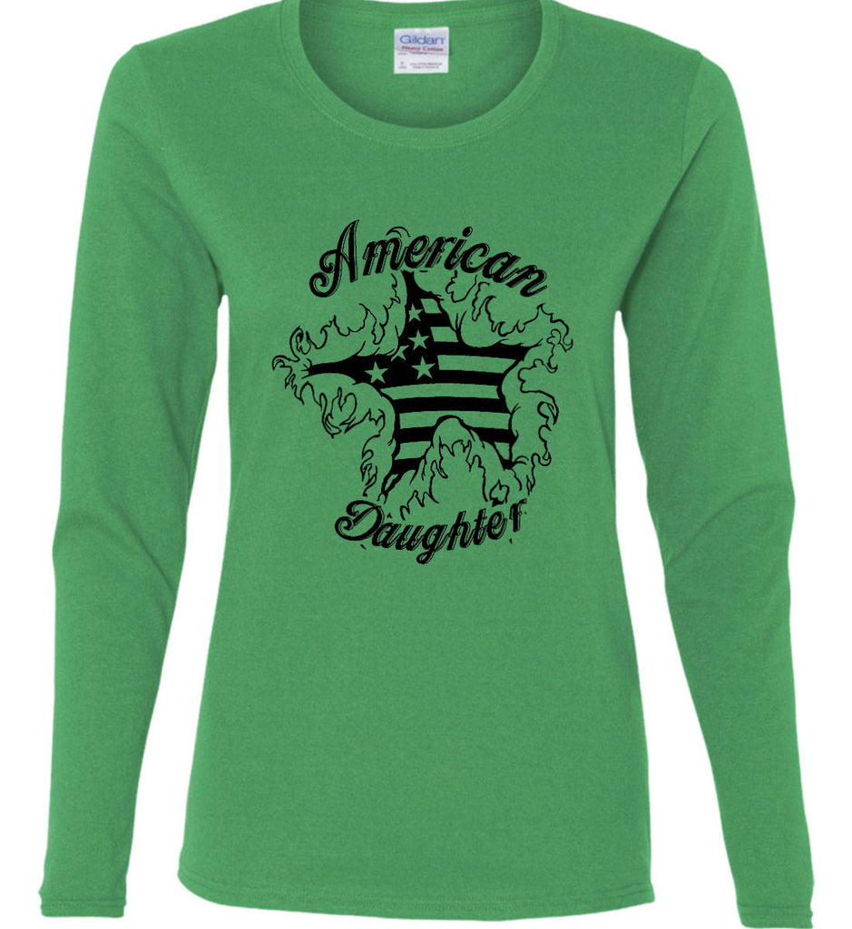 American Daughter. Women's Patriot Design. Women's: Gildan Ladies Cotton Long Sleeve Shirt.-6