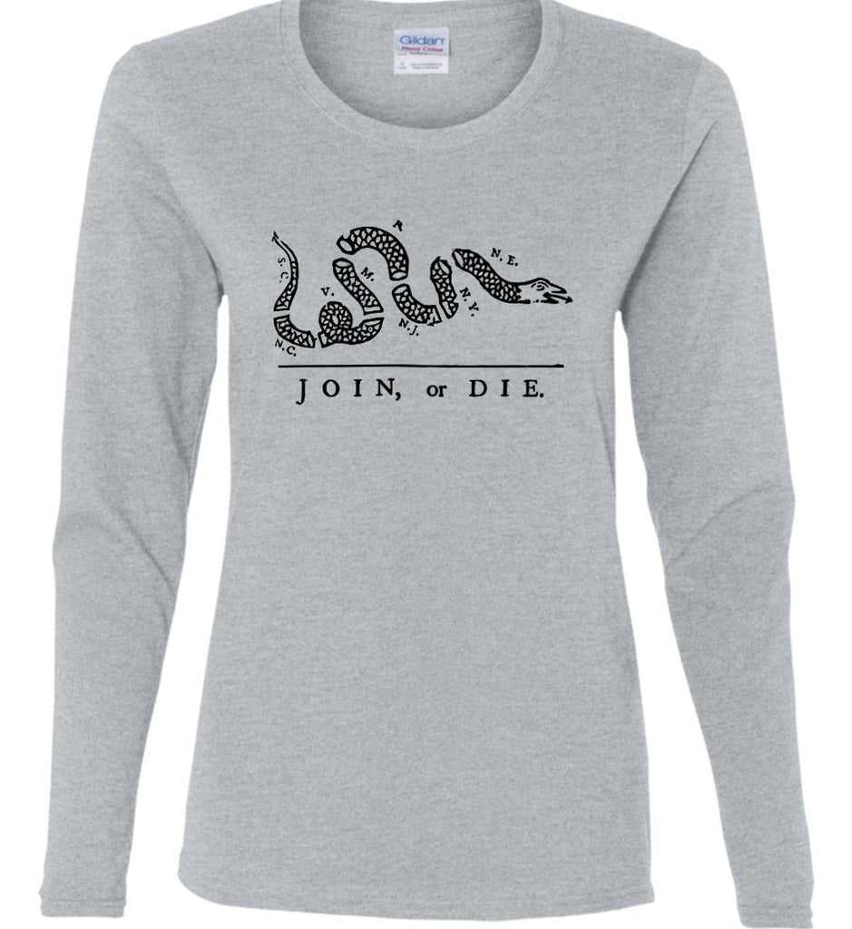 Join or Die. Black Print. Women's: Gildan Ladies Cotton Long Sleeve Shirt.-5