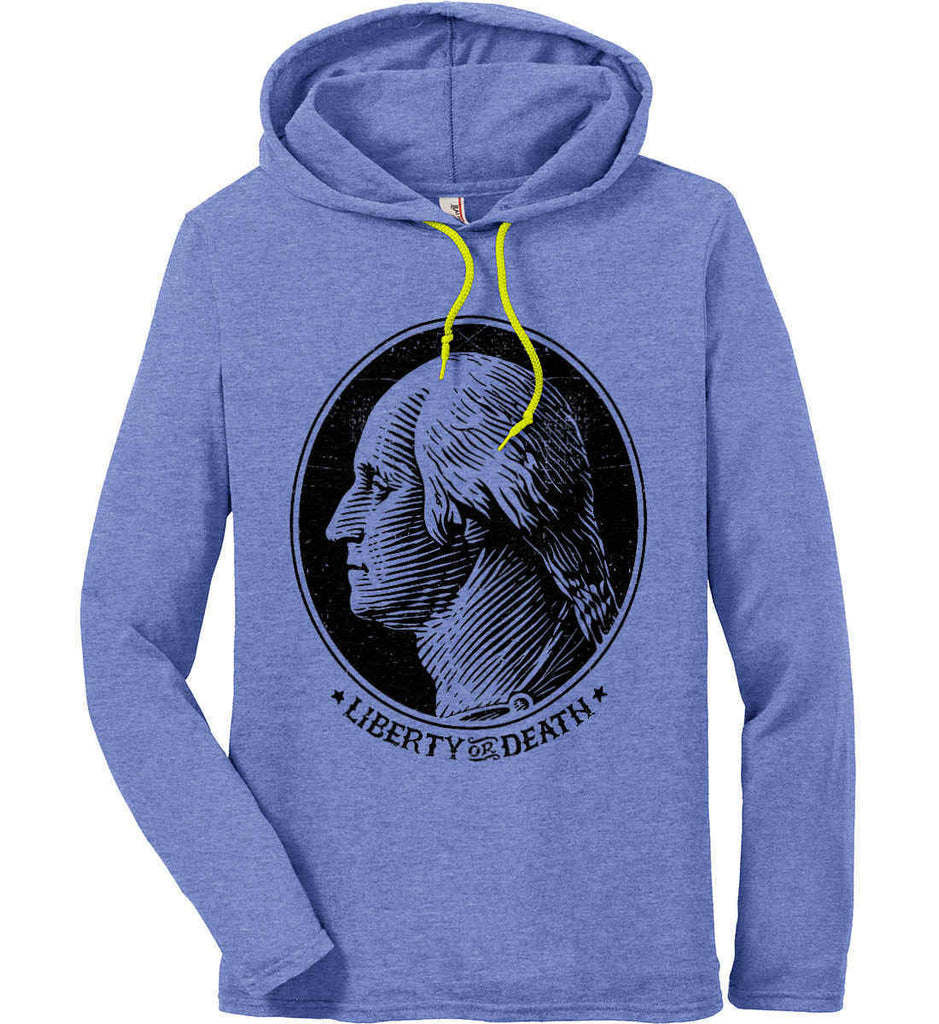 George Washington Liberty or Death. Black Print Anvil Long Sleeve T-Shirt Hoodie.-2