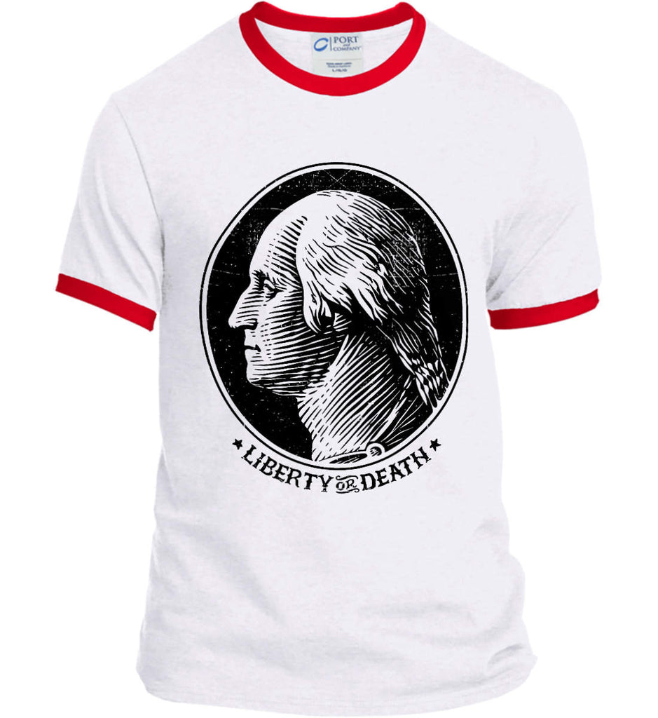 George Washington Liberty or Death. Black Print Port and Company Ringer Tee.-4