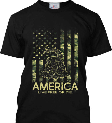 America. Live Free or Die. Don't Tread on Me. Camo. Port & Co. Made in the USA T-Shirt.