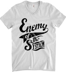Enemy of The System. Anvil Men's Printed V-Neck T-Shirt.
