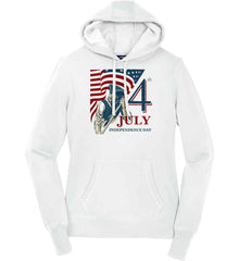 Patriot Flag. July 4th. Independence Day. Women's: Sport-Tek Ladies Pullover Hooded Sweatshirt.