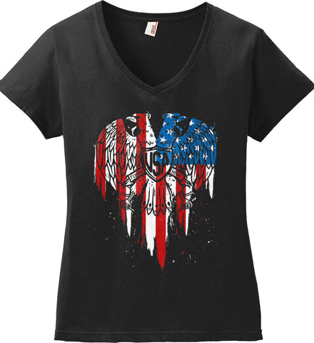 USA Eagle Flying High. Women's: Anvil Ladies' V-Neck T-Shirt.