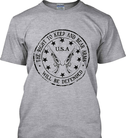 The Right to Keep and Bear Arms Will be Defended. Second Amendment. Black Print. Gildan Tall Ultra Cotton T-Shirt.