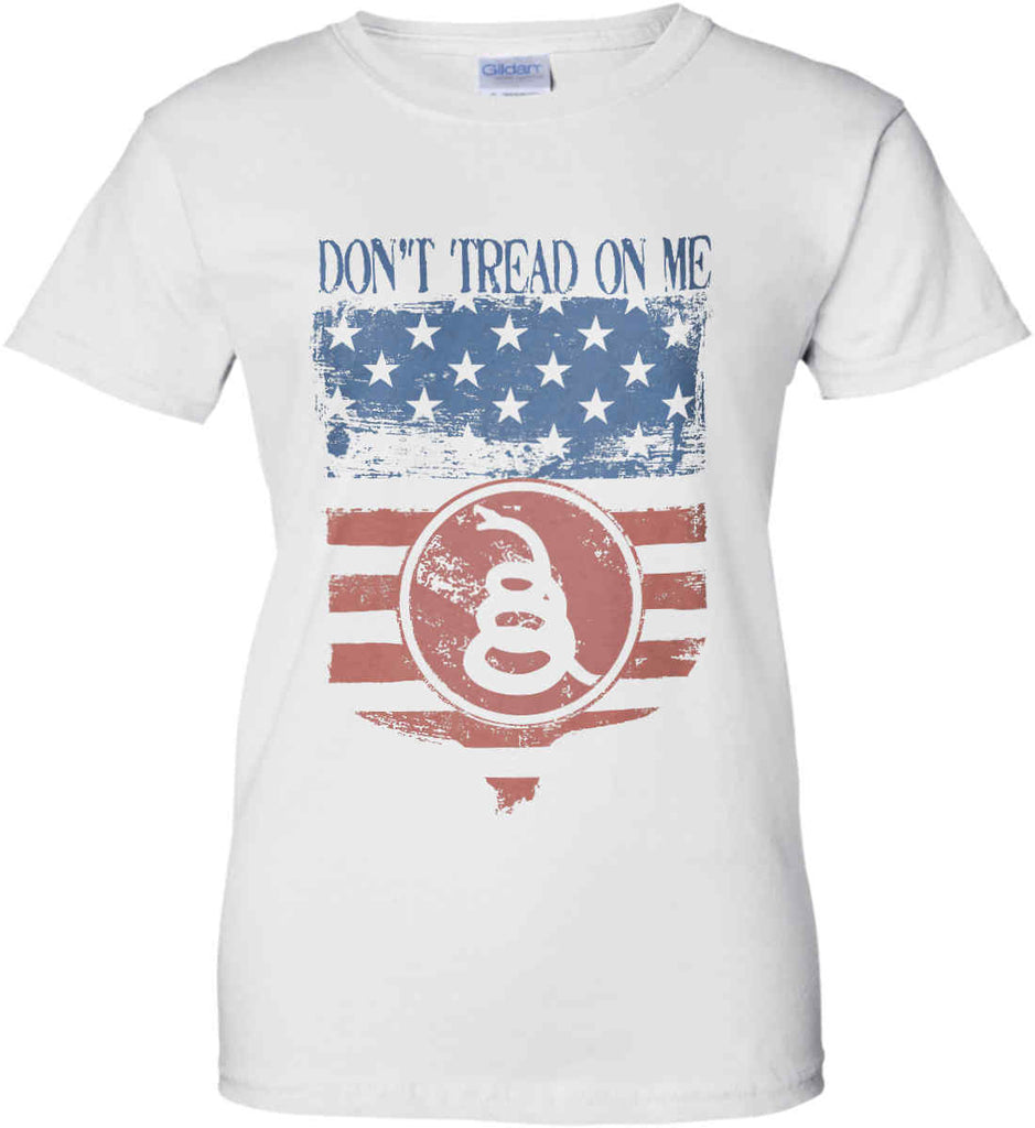 Don't Tread on Me. Rattlesnake. Faded Grunge Shield Women's: Gildan Ladies' 100% Cotton T-Shirt.-2