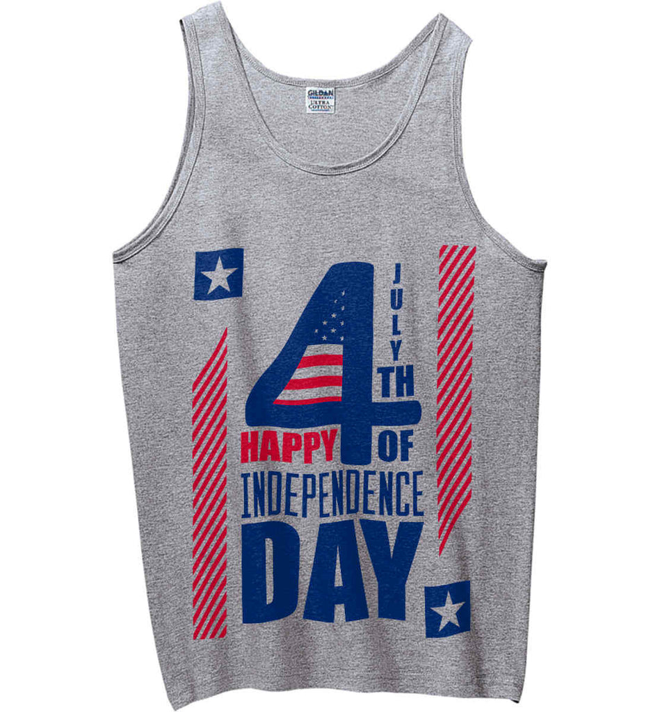 4th of July with Stars and Stripes. Gildan 100% Cotton Tank Top.-2
