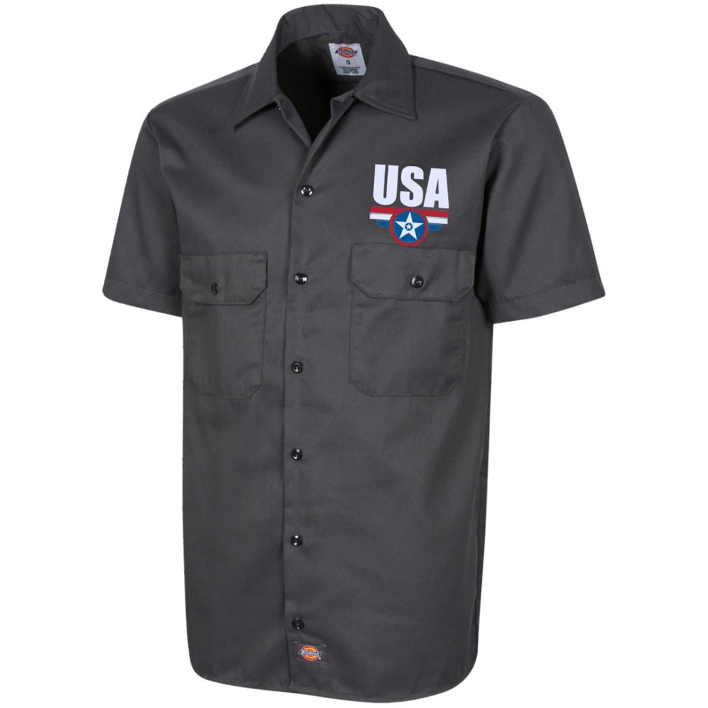 USA. Star-Shield. Red, White, Blue. Dickies Men's Short Sleeve Workshirt. (Embroidered)-1