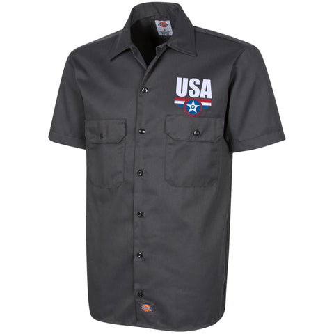 USA. Star-Shield. Red, White, Blue. Dickies Men's Short Sleeve Workshirt. (Embroidered)