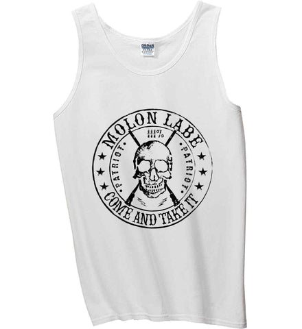 Molon Labe. Come and Take. Skull. Black Print Gildan 100% Cotton Tank Top.