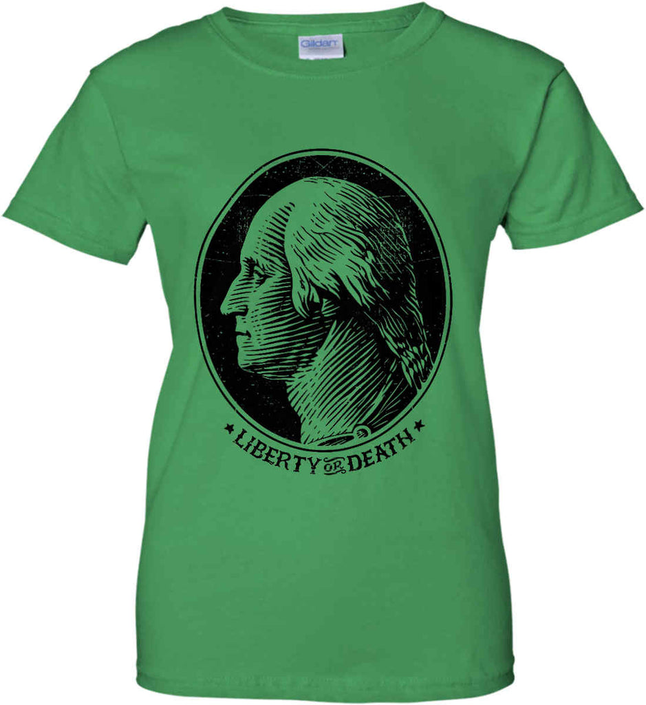 George Washington Liberty or Death. Black Print Women's: Gildan Ladies' 100% Cotton T-Shirt.-7