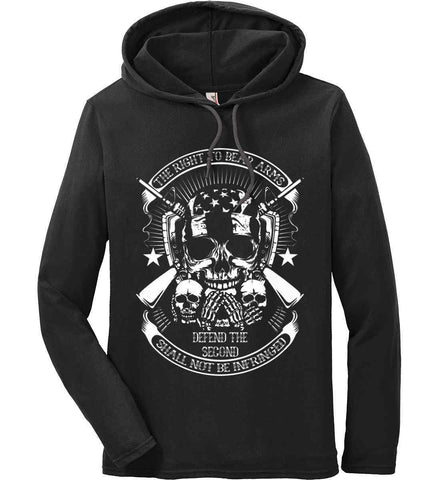 The Right to Bear Arms. Shall Not Be Infringed. Since 1791. White Print. Anvil Long Sleeve T-Shirt Hoodie.