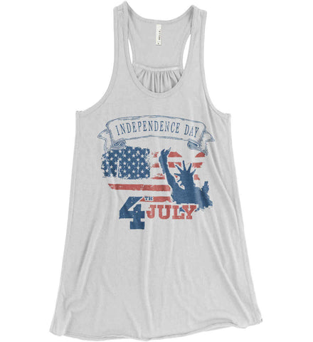 4th of July. Faded Grunge. Statue of Liberty. Women's: Bella + Canvas Flowy Racerback Tank.
