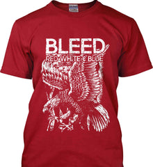 BLEED Red, White & Blue. Eagle on Flag. White Print. Gildan Tall Ultra Cotton T-Shirt.