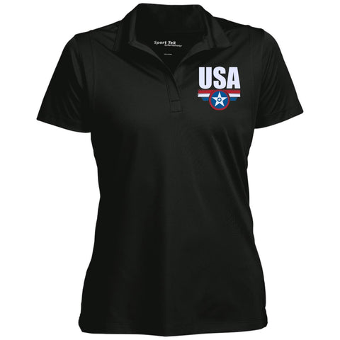 USA. Star-Shield. Red, White, Blue. Women's: Sport-Tek Women's Micropique Tag-Free Flat-Knit Collar Polo. (Embroidered)