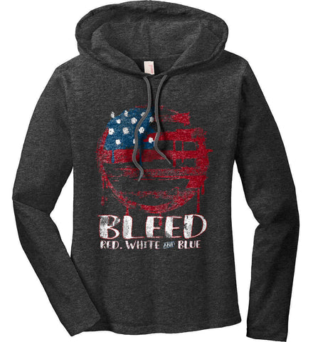 BLEED Red, White and Blue Circle Flag. Women's: Anvil Ladies' Long Sleeve T-Shirt Hoodie.