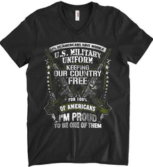7% of Americans Have Worn a Military Uniform. I am proud to be one of them. Anvil Men's Printed V-Neck T-Shirt.