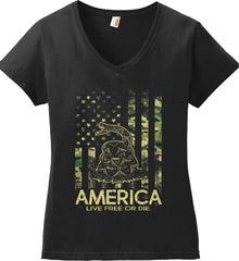 America. Live Free or Die. Don't Tread on Me. Camo. Women's: Anvil Ladies' V-Neck T-Shirt.