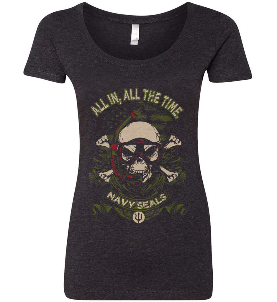 All In, All The Time. Navy Seals. Women's: Next Level Ladies' Triblend Scoop.-1