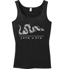 Join or Die. White Print. Women's: Anvil Ladies' 100% Ringspun Cotton Tank Top.