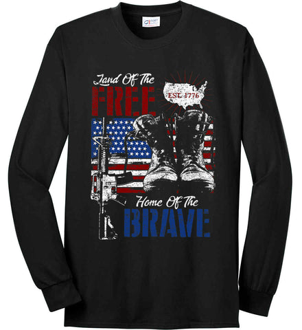 Land Of The Free. Home Of The Brave. 1776. Port & Co. Long Sleeve Shirt. Made in the USA..