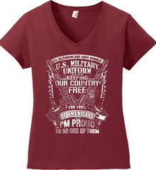 7% of Americans Have Worn a Military Uniform. I am proud to be one of them. White Print. Women's: Anvil Ladies' V-Neck T-Shirt.
