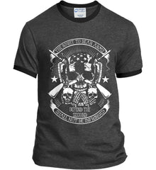 The Right to Bear Arms. Shall Not Be Infringed. Since 1791. White Print. Port and Company Ringer Tee.
