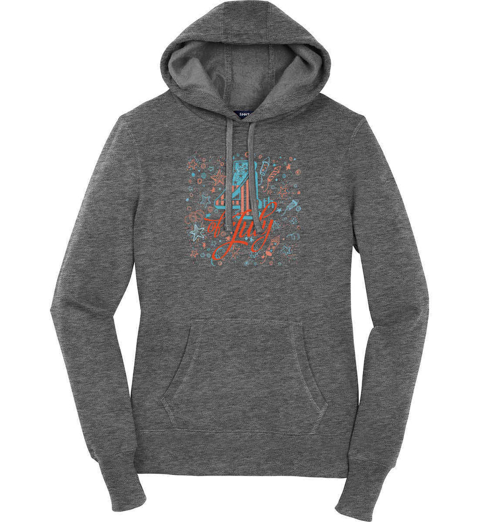 4th of July. Stars and Rockets. Women's: Sport-Tek Ladies Pullover Hooded Sweatshirt.-3