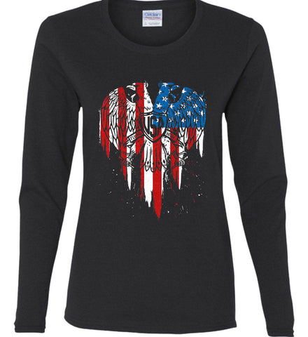 USA Eagle Flying High. Women's: Gildan Ladies Cotton Long Sleeve Shirt.