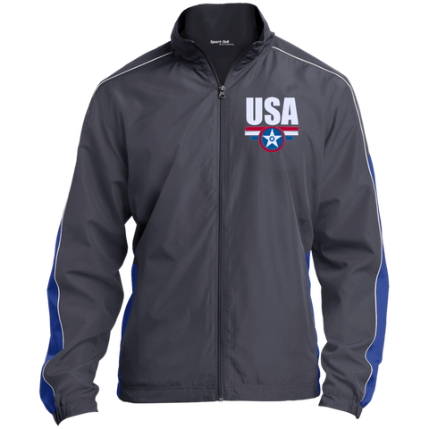 USA. Star-Shield. Red, White, Blue. Sport-Tek Colorblock Windbreaker. (Embroidered)