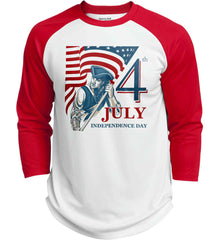 Patriot Flag. July 4th. Independence Day. Sport-Tek Polyester Game Baseball Jersey.