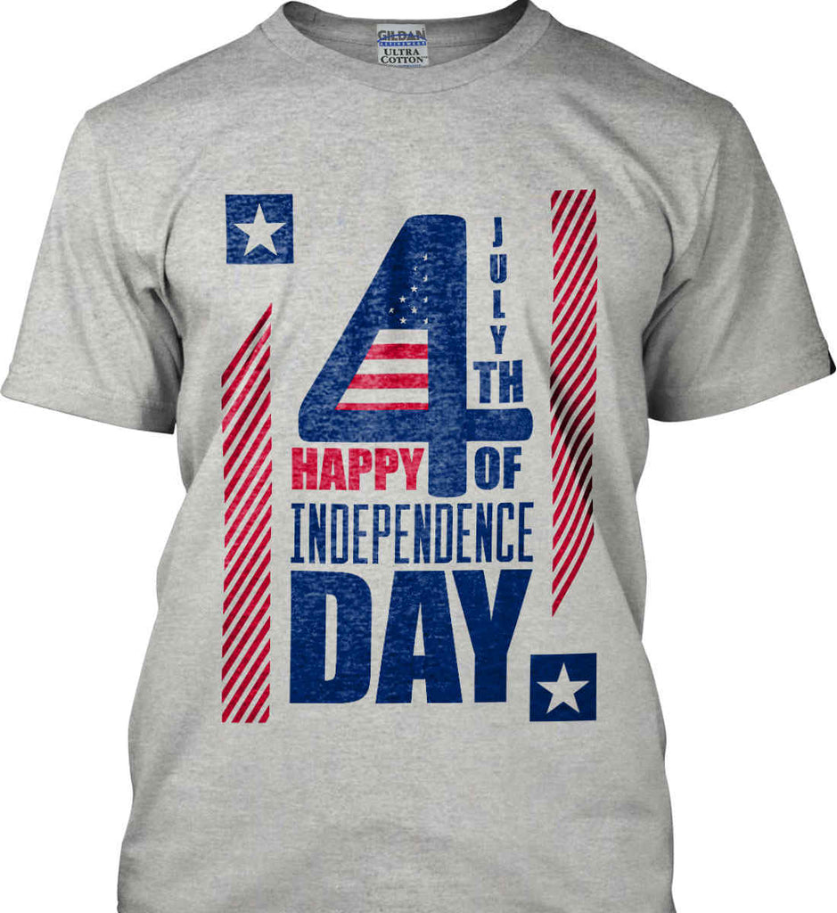 4th of July with Stars and Stripes. Gildan Ultra Cotton T-Shirt.-5