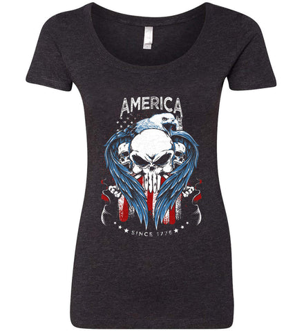 America. Punisher Skull and Bones. Since 1776. Women's: Next Level Ladies' Triblend Scoop.