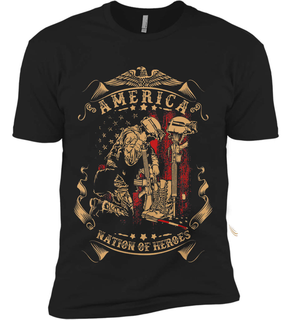 America A Nation of Heroes. Kneeling Soldier. Next Level Premium Short Sleeve T-Shirt.-1