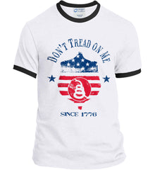 Don't Tread on Me. Snake on Shield. Red, White and Blue. Port and Company Ringer Tee.