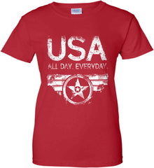 USA All Day Everyday. White Print. Women's: Gildan Ladies' 100% Cotton T-Shirt.