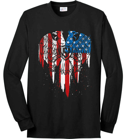 USA Eagle Flying High. Port & Co. Long Sleeve Shirt. Made in the USA..