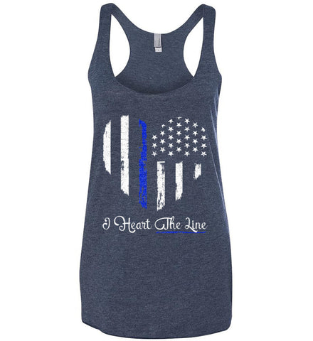 I Heart the Blue Line. Pro-Police. Women's: Next Level Ladies Ideal Racerback Tank.