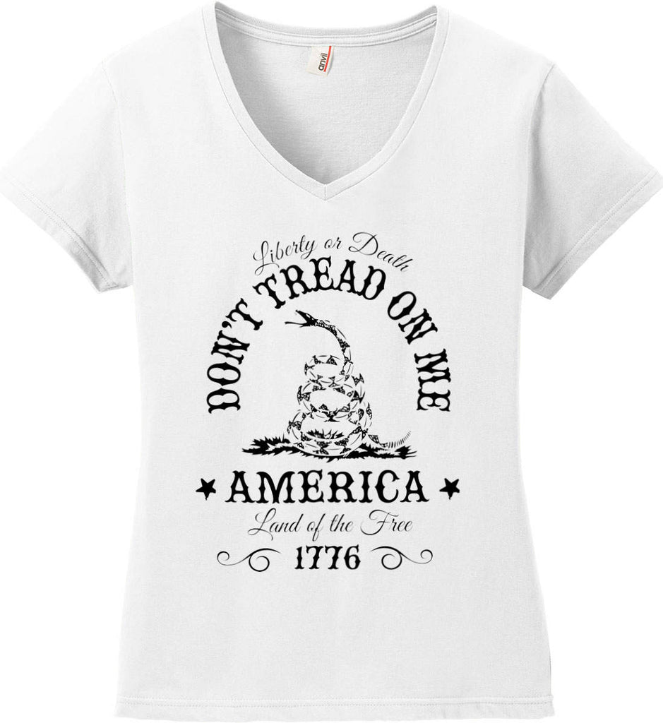 Don't Tread on Me. Liberty or Death. Land of the Free. Black Print. Women's: Anvil Ladies' V-Neck T-Shirt.-3