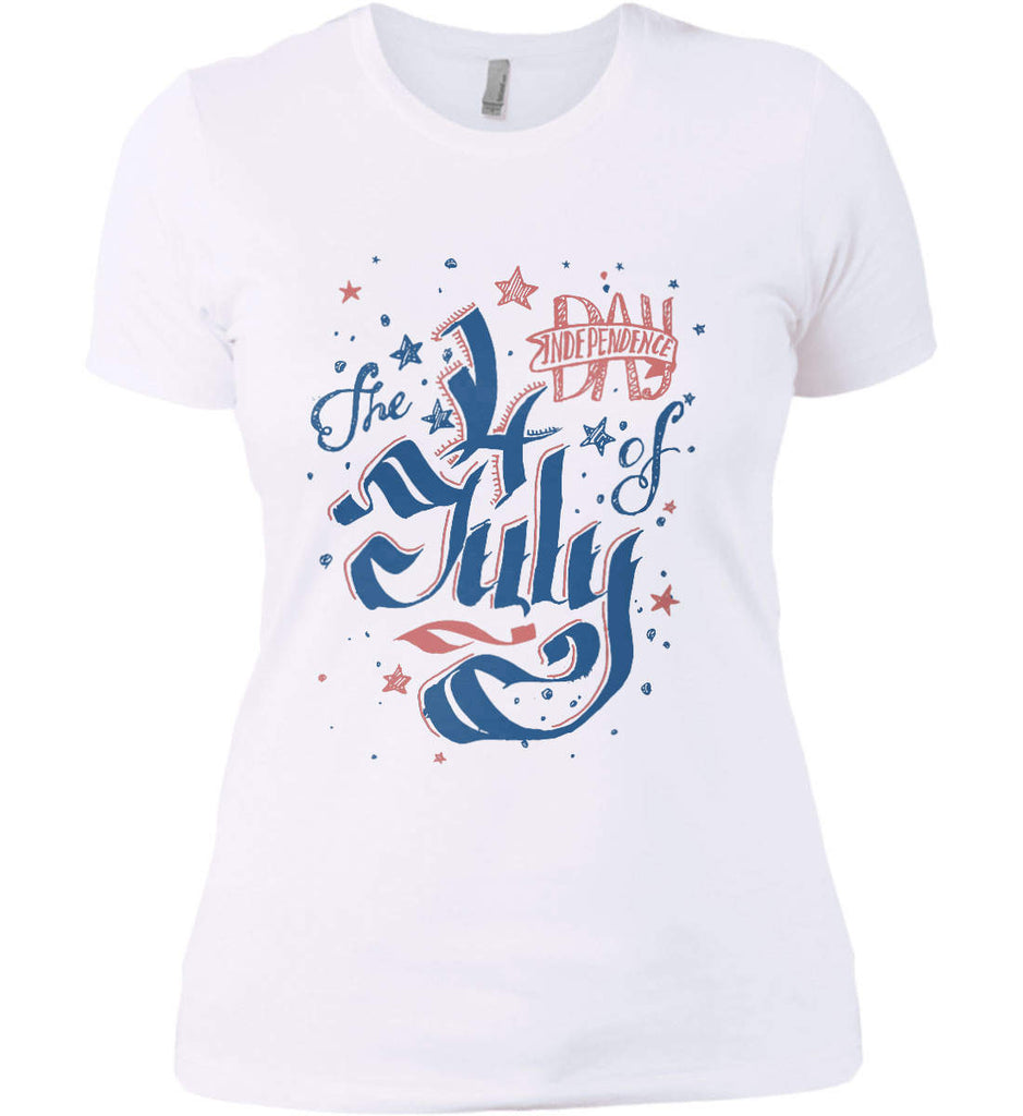The 4th of July. Ribbon Script. Women's: Next Level Ladies' Boyfriend (Girly) T-Shirt.-2