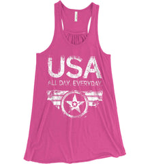 USA All Day Everyday. White Print. Women's: Bella + Canvas Flowy Racerback Tank.