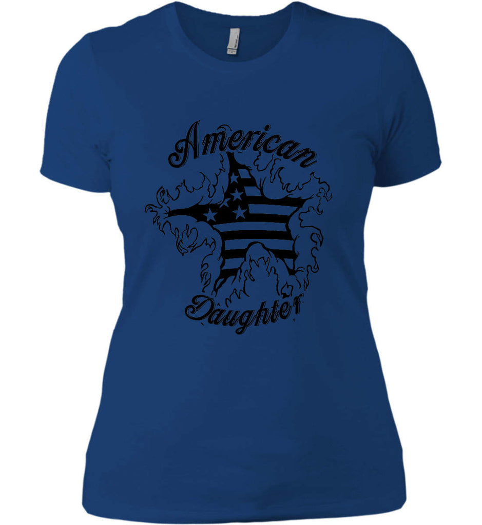 American Daughter. Women's Patriot Design. Women's: Next Level Ladies' Boyfriend (Girly) T-Shirt.-8