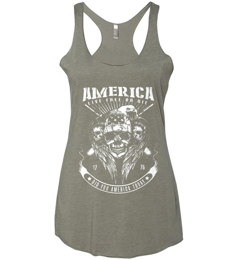Did you America Today. 1776. Live Free or Die. Skull. White Print. Women's: Next Level Ladies Ideal Racerback Tank.-9